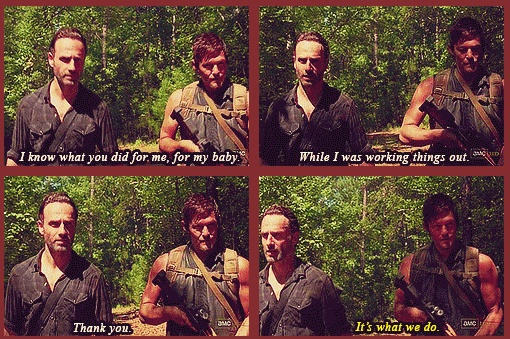 Rick & Daryl, The Walking Dead ..It's what we do http://pinterest.com/yankeelisa/the-walking-dead/