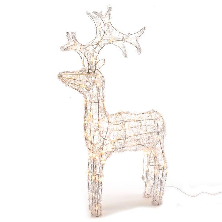 LED Rentier aus Acryl für eine dekorative Beleuchtung in Ihrem Außenbereich. Die Lämpchen beleuchten das Rentier in warm-weißen Tönen.