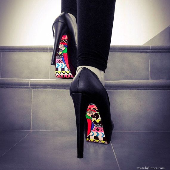 High Heel Shoes  Colorful Aztec Shoe With Parrot by BYLINNEA