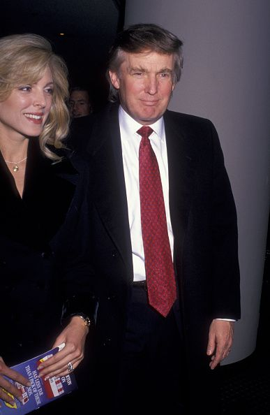 Marla Trump and Donald Trump attend 'Damn Yankees' Opening on March 3 1994 at the Marquis Theater in New York City