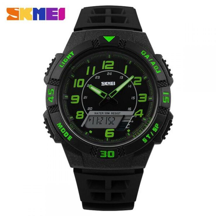 Jam Tangan Pria SKMEI Dual Time Casio Men Sport LED Original AD1065 Hijau