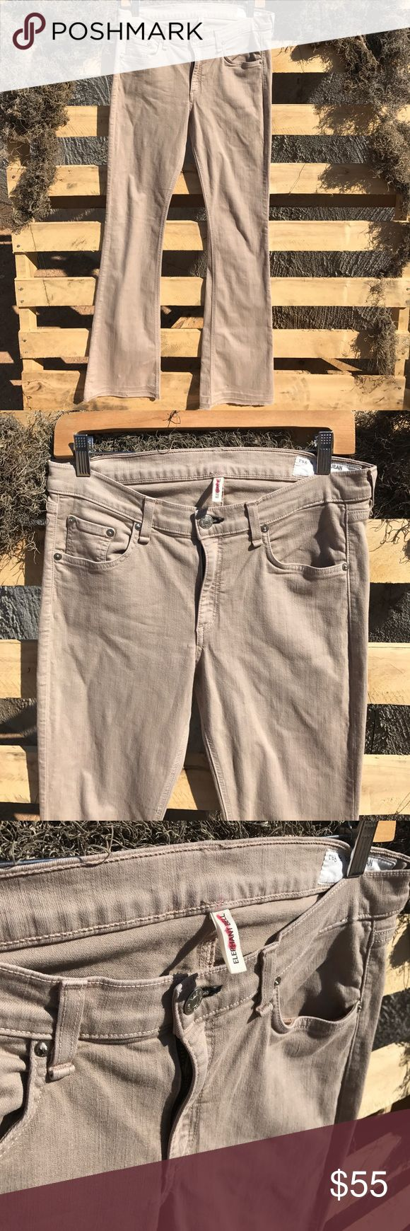 """RAG & BONE """"Elephant Bell"""" Tan jeans Size 30 In great condition! Awesome raw hem. Low rise. 86% cotton, 11% polyester, 3% spandex. Waist: 15"""" Inseam: 35"""" rag & bone Jeans Flare & Wide Leg"""