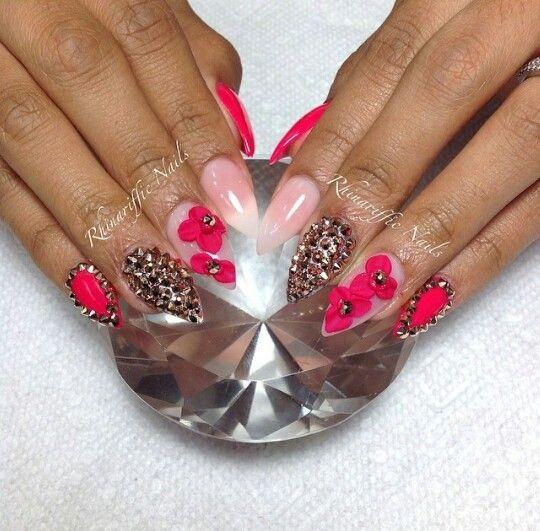 Rhinariffic Nail Salon Miami FL Stilleto Pink & Gold