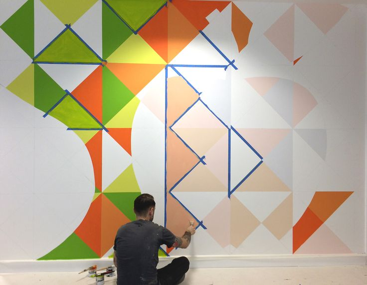 Juice Plus+ - hand-painted office mural in progress.