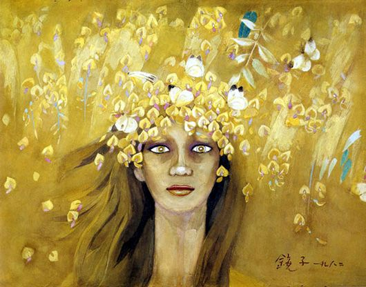 Chun Kyung-ja (Korean, 천경자, 1924 - ), Golden rain, 1982, Colored on paper, 34 x 46cm