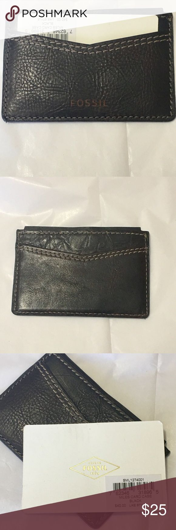Fossil card holder Expresso leather with lighter contrasting stitching Fossil ID/card holder. Can hold multiple cards, ID, and some cash. Fossil Accessories Key & Card Holders