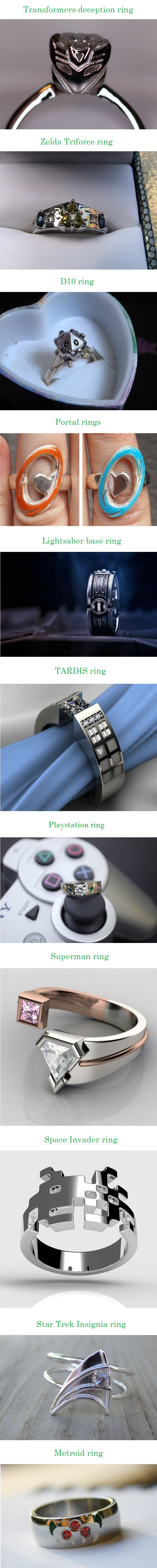 Cool, nerdy engagement rings. Perfect for any fandom!