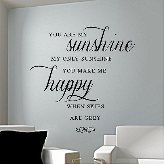 You Are My Sunshine   Vinyl Wall Decal, Vinyl Sticker Lettering Word Art