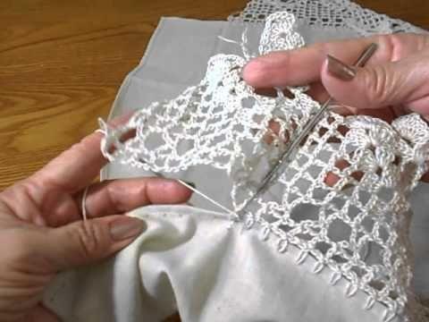 Cómo tejer puntilla y cómo unirla a la tela / Tutorial Crochet ~ Patrones para Crochet