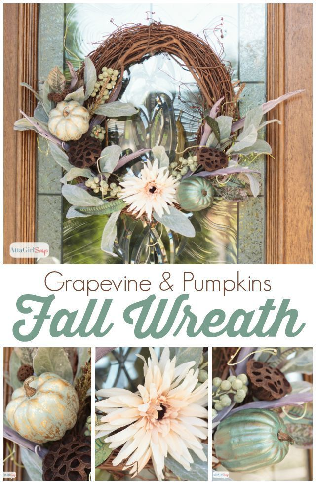 A lovely fall wreath featuring painted, gilded pumpkins on a grapevine form. I…