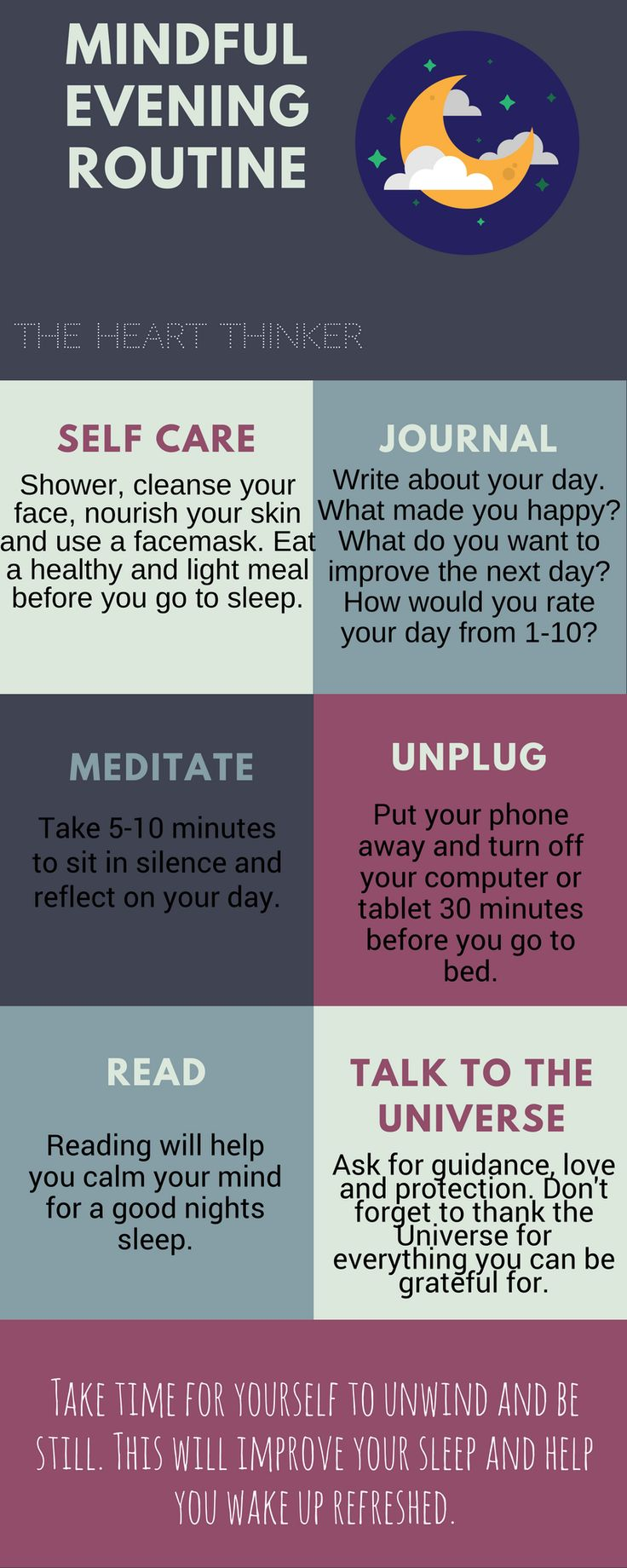 Do you feel like you are not getting a good nights sleep? Do you find yourself restless and stressed out laying in bed? I AM HERE TO HELP! Visit my blog to read how this routine can positively influence your sleep and your peace of mind! Love-Happiness-Positivity-Mindfulness-Mindful living-Spirituality-Law of Attraction-The Secret-Manifesting-Visualizing-Meditation-Gratitude-Zen-Peace-Serenity-Self Love-Self Care-Routine-Spirit-Inner Guide-Universe-Manifestation-Visualisation-Dream Life-How…