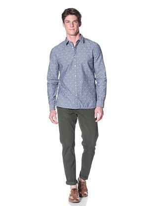 Edun Men's Long Sleeve Jacquard Woven Shirt