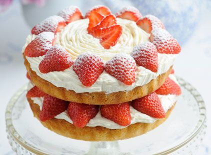 Classic Victoria sponge cake...  Named after Queen Victoria herself, there are few cakes that can beat this all-time classic recipe. You can spread strawberry jam (turning it into a jam sponge) or whipped vanilla cream on the base of one sponge cake as a filling, or both. 20 mins to prepare and...  20 mins to cook... Serves 10 30 mins to cool