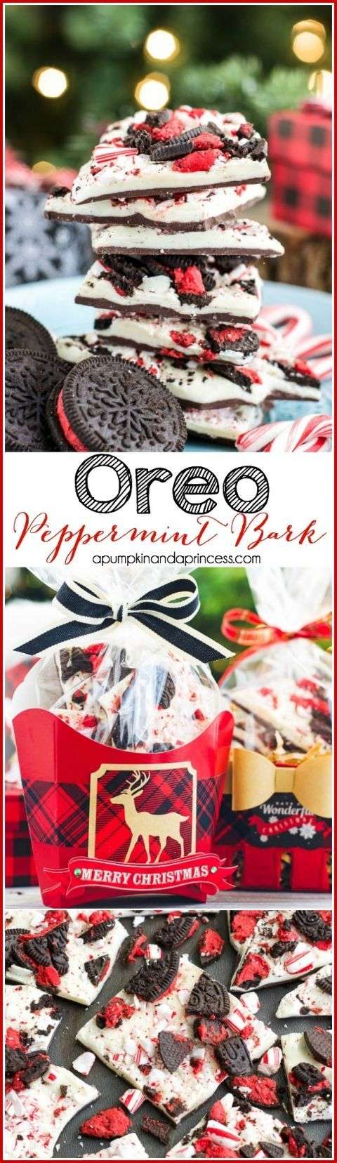 Oreo Peppermint Bark Recipe + food gift wrapping ideas