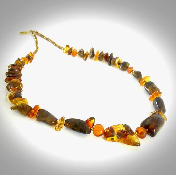 Natural Baltic Amber Necklace Adult Genuine Raw Amber by GECHELINE DESIGN JEWELRY GEMSTONE NECKLACE RETRO STYLE - MODER LOOK! IT'S SO UNIQUE AND BEAUTIFUL! OOAK NECKLACE! ORGANIC JEWELRY