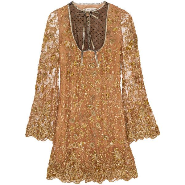 Emilio Pucci Embellished tulle mini dress (3.695 BRL) ❤ liked on Polyvore featuring dresses, short dresses, emilio pucci, beige, mini dress, short tulle dress, beige cocktail dress, beige dress and neck ties