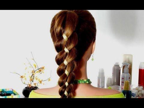 Коса из 4-х прядей (3+1 лента). Техника плетения косы с лентой. (+lista ...
