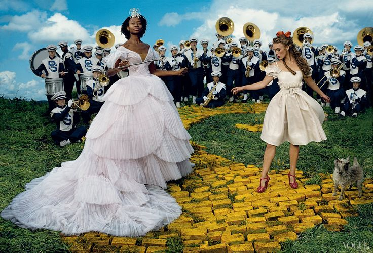 Tim Walker Follow the Yellow Brick Road - Re-creating The Wizard of Oz: Keira Knightley as Dorothy and Kara Walker as The Good Witch.