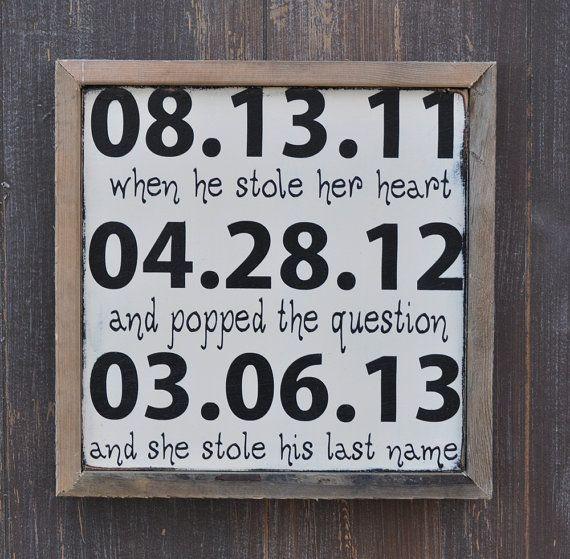 Custom Wood Wedding sign Personalized Engagement by wavynavy