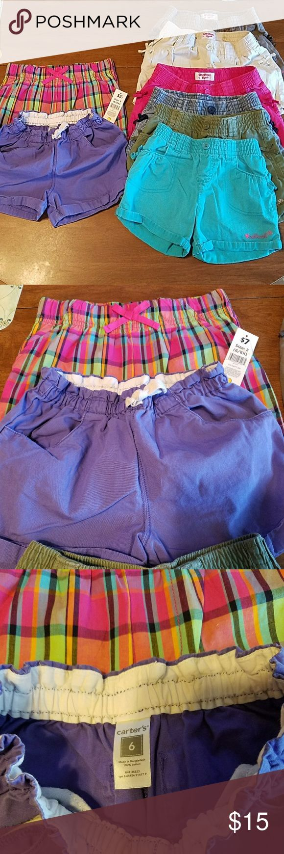 LOT of 8 pair of shorts size 6/6x in guc This lot with get any little girl through the summer. It includes 6 pair of OshKosh shorts. All have elastic waist bands and with 2 functional front pockets.  1 pair of Carter's purple shorts with elastic waist band and 2 functional front and back pockets. 1 NWT plaid shorts by bobbie brooks with elastic waist band but no pockets. All are in excellent condition. All are 100% cotton. OshKosh shorts colors are teal, Hunter green, blue jean, pink, khaki…