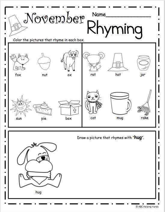 Free Kindergarten Worksheets On Rhyming