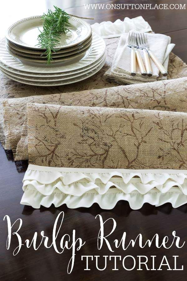 No Sew Burlap Ruffled Runner | A Tutorial by On Sutton Place