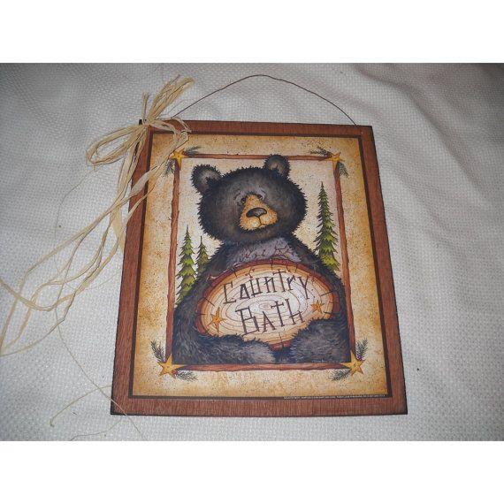 Black Bear Country Bath Wooden Wall Art Sign Lodge Bathroom Decor on Etsy, $9.99