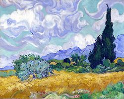 "Vincent Van Gogh - ""Wheat field with Cypresses."" Impressionism by Vincent Van Gogh. Van Gogh paintings are studies in color. Be inspired by his art to help you understand how to put a paint color scheme together."