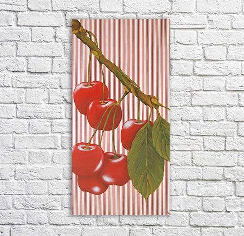 Tableau cerises sur toile à matelas, décoration murale pour cuisine.