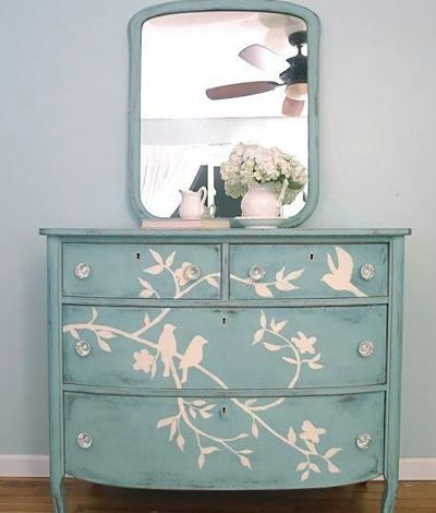 Love love love this. Painted birds and branches on dresser front. Aqua paint beautiful added detail rachael