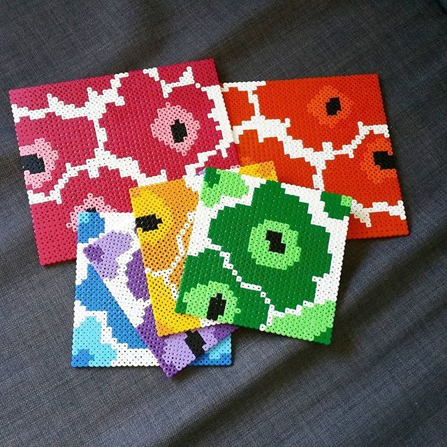 Marimekko inspired coaster set hama perler beads by pixelpearlsshop