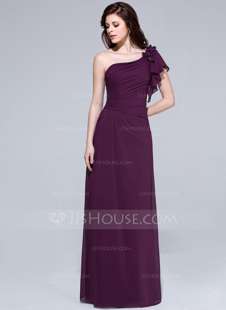 Asombroso Vestido De La Dama De Honor De Color Rojo Un Hombro ...