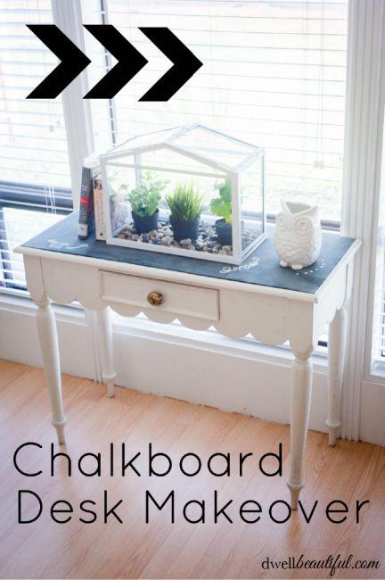 Chalkboard Desk Makeover by Dwell Beautiful