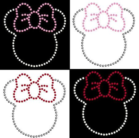 rhinestone stud transfer hot fix applique hotfix iron on Disney mouse minnie