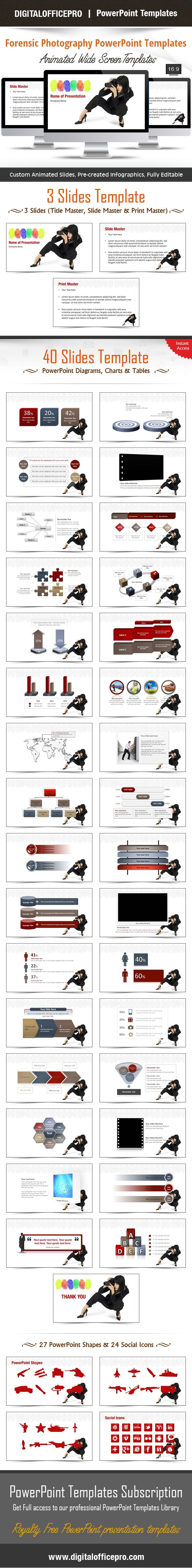 Impress and Engage your audience with Forensic Photography PowerPoint Template and Forensic Photography PowerPoint Backgrounds from DigitalOfficePro. Each template comes with a set of PowerPoint Diagrams, Charts & Shapes and are available for instant download.