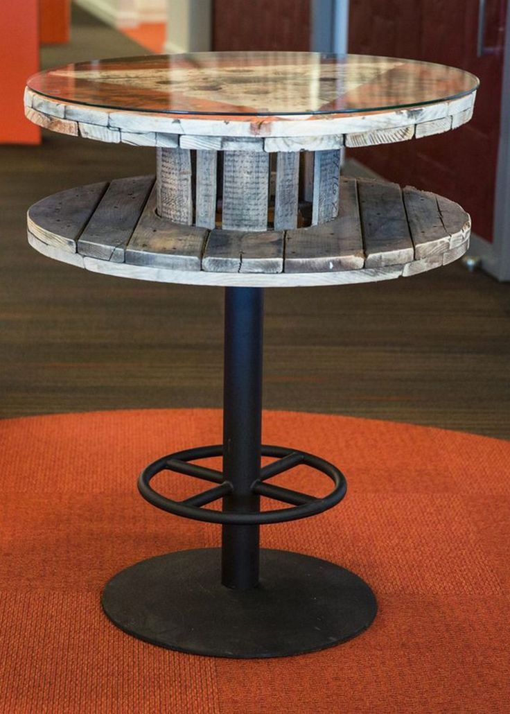 Interesting Tall Spool Table, Perfect For A Few Bar Stools.