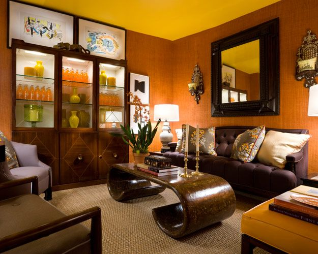 Black brown blue livingroom minimalist home dezine dark - Black and orange living room ideas ...