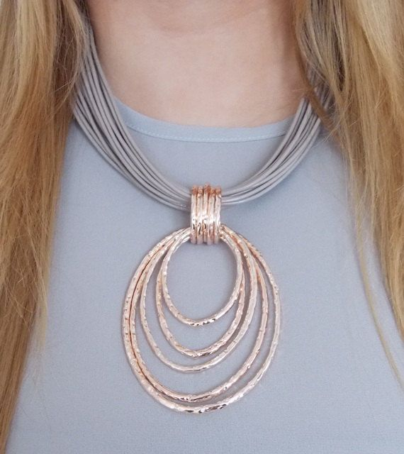 Multi-Cord and Rose Gold Necklace UK SELLER