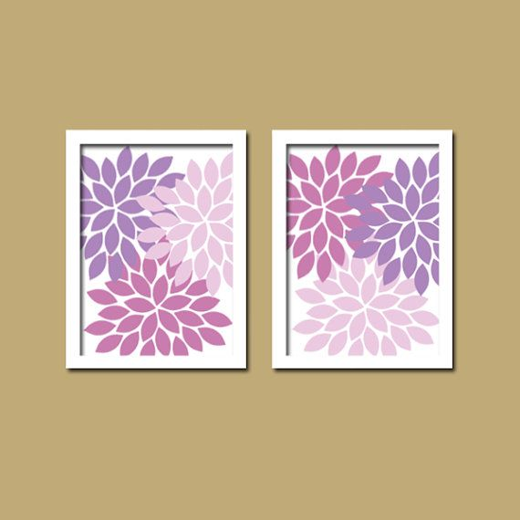 Bold Pink Purple Lilac Lavender Floral Flower Burst Set of 2 Prints WALL Baby Decor Abstract ART Bedroom Bathroom NURSERY Picture Crib