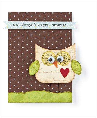 papercraft: Card Idea, Scrapbook Card, Handmade Card, Card Owl, Papercraft Scrapbook, Paper Owl, Owl Card, Card Stamps Tutorials, Owlcard