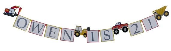 Big Custom Banner for your Big Trucks or Construction Birthday Party. Nothing is better then this personalized banner to celebrate your little trucker! Perfect match to the Meri Meri Big Trucks Party Supplies available at SetToCelebrate.com !