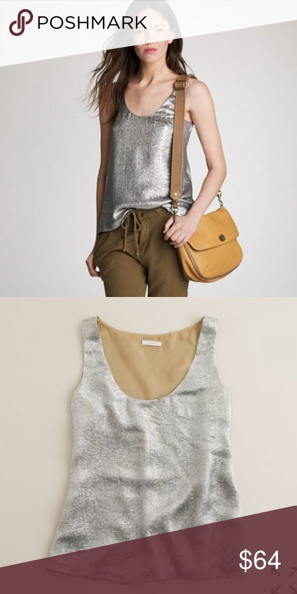 """J. CREW SHIMMER VEIL SILVER CAMI #110 J.CREW, Size 6, Silver metallic tank top, tan lining.  CONDITION: EUC No issues, minimal signs of wear CHEST: 37"""" WAIST: 38"""" LENGTH: 23.5 INSEAM:  *All measurements taken while item is laid flat (doubled when necessary) and measured across the front  MATERIAL: Silk Polyester  STRETCH: None INSTAGRAM @ORNAMENTALSTONE 🚫Trading J. Crew Tops"""