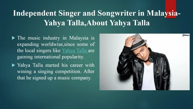 Yahya Talla started his career with wining a singing competition. After that he signed up a music company. For more info about Yahya Talla visit https://yahyatalla.wordpress.my/