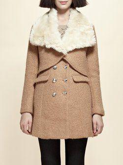 Camel Shirt Collar Casual Detachable Fur And Shearling Coat
