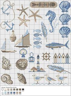 free cross stitch alphabet nautical - Google Search