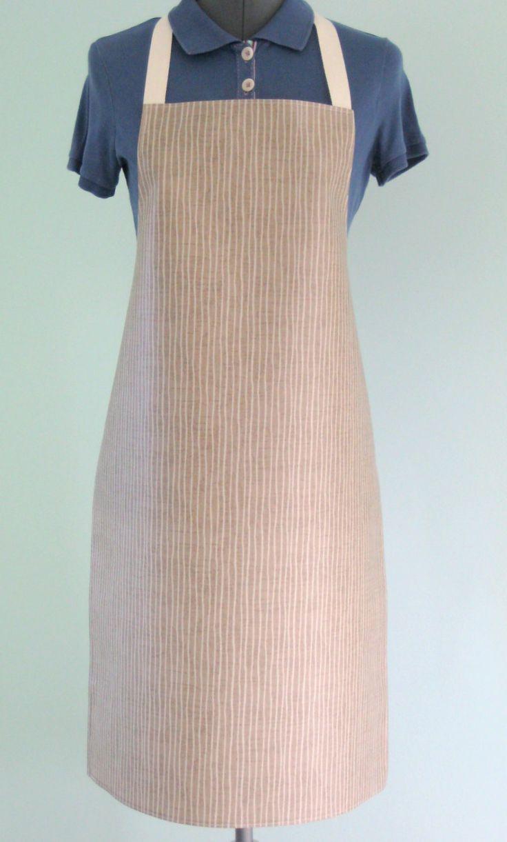 White apron london - Dark Beige Striped Print Adult Pvc Apron Matt Oilcloth Apron Waterproof Apron