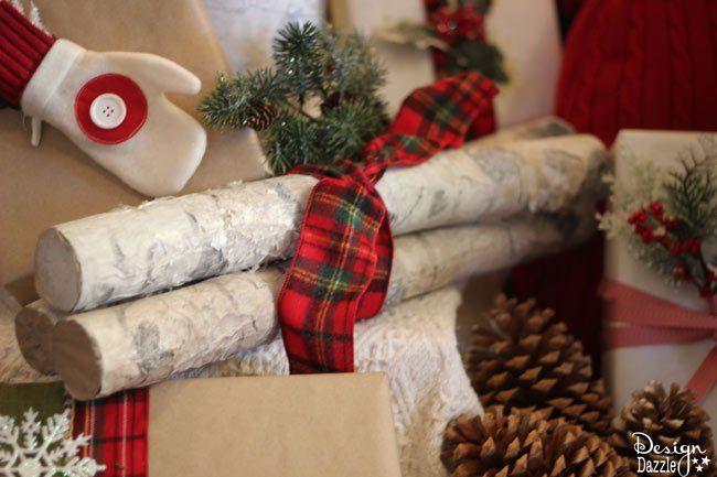 Make pool noodles into faux birch logs! Find the full tutorial at Designdazzle.com. #diyChristmasdecor #poolnoodlediy
