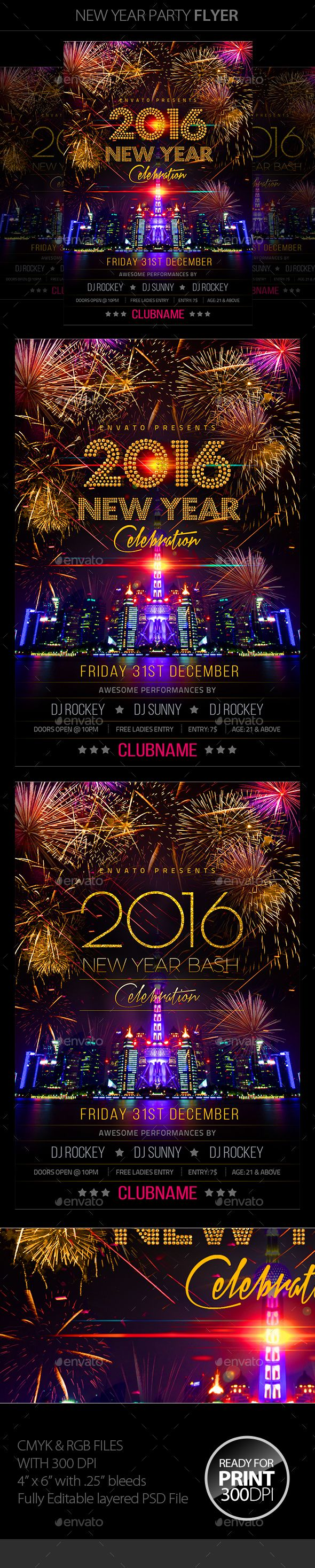 New Year Party Flyer Template PSD #design Download: http://graphicriver.net/item/new-year-party/13670298?ref=ksioks