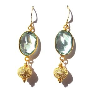 Light Green Topaz and Vermeil Sphere Drop Earrings | Only available at Peyton William. www.peytonwilliam.com