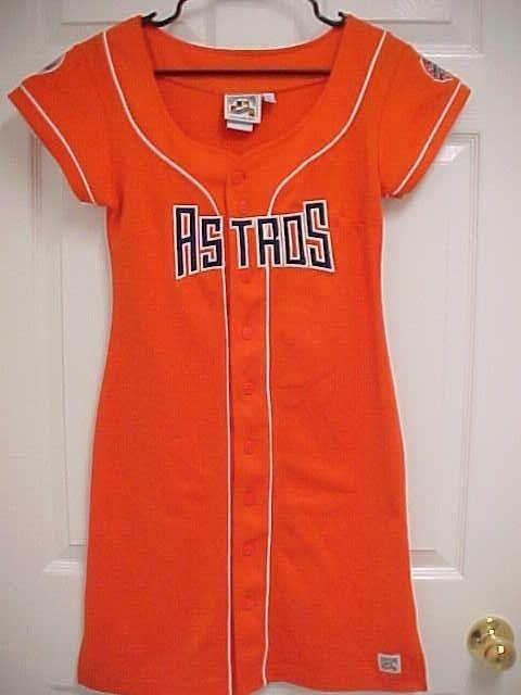 f59bb5232 HOUSTON ASTROS Women Lady Orange Stitch Logo Summer Jersey Dress S  Cooperstown  Cooperstoown  HoustonAstros